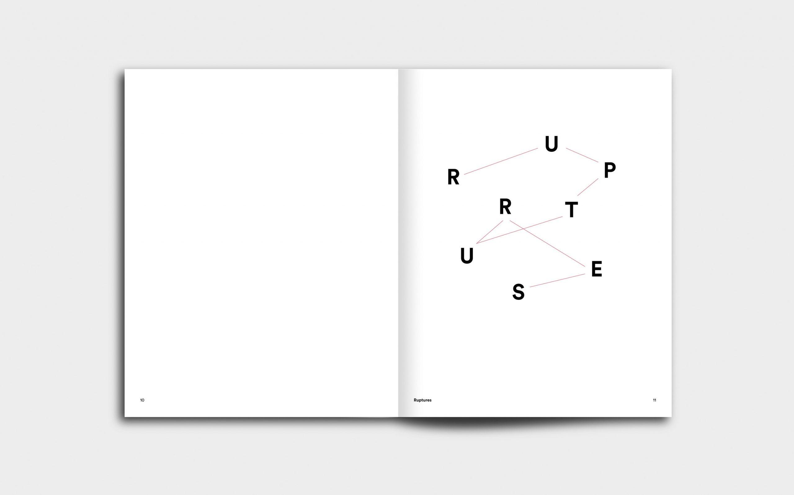 Juliana Herrero – REM 1:1 | Kapitel Opener mit grafischer Inszenierung des Titels »Ruptures« | Keywords: Editorial Design, Artist Book, Künstlerbuch, Buchgestaltung, Grafikdesign, Design, Typografie