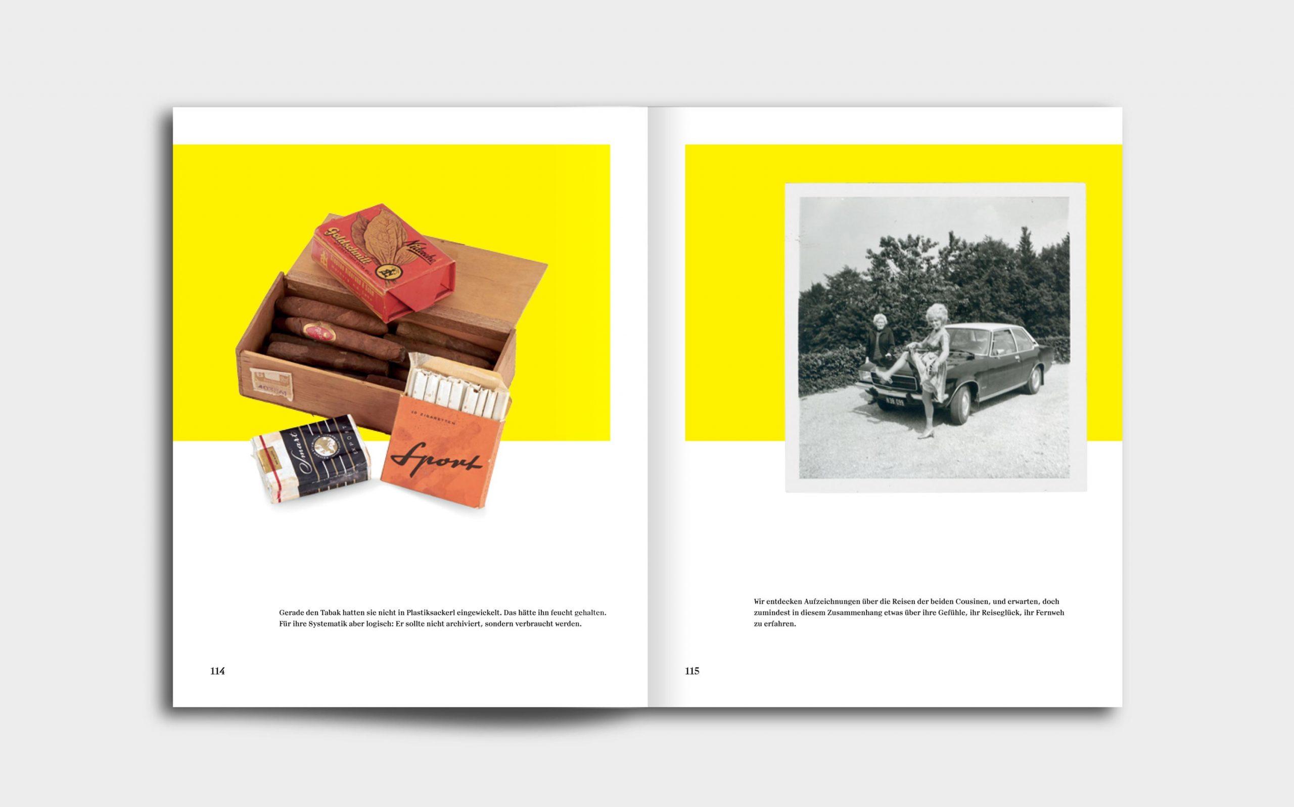Tarek Leitner, Peter Coeln – Hilde & Gretl | Doppelseite mit zwei Bildern, links eine Zigarrenkiste, rechts ein altes schwarz-weiß Foto | Keywords: Editorial Design, Veredelung, Artist Book, Künstlerbuch, Buchgestaltung, Grafikdesign, Design, Typografie, Nippes
