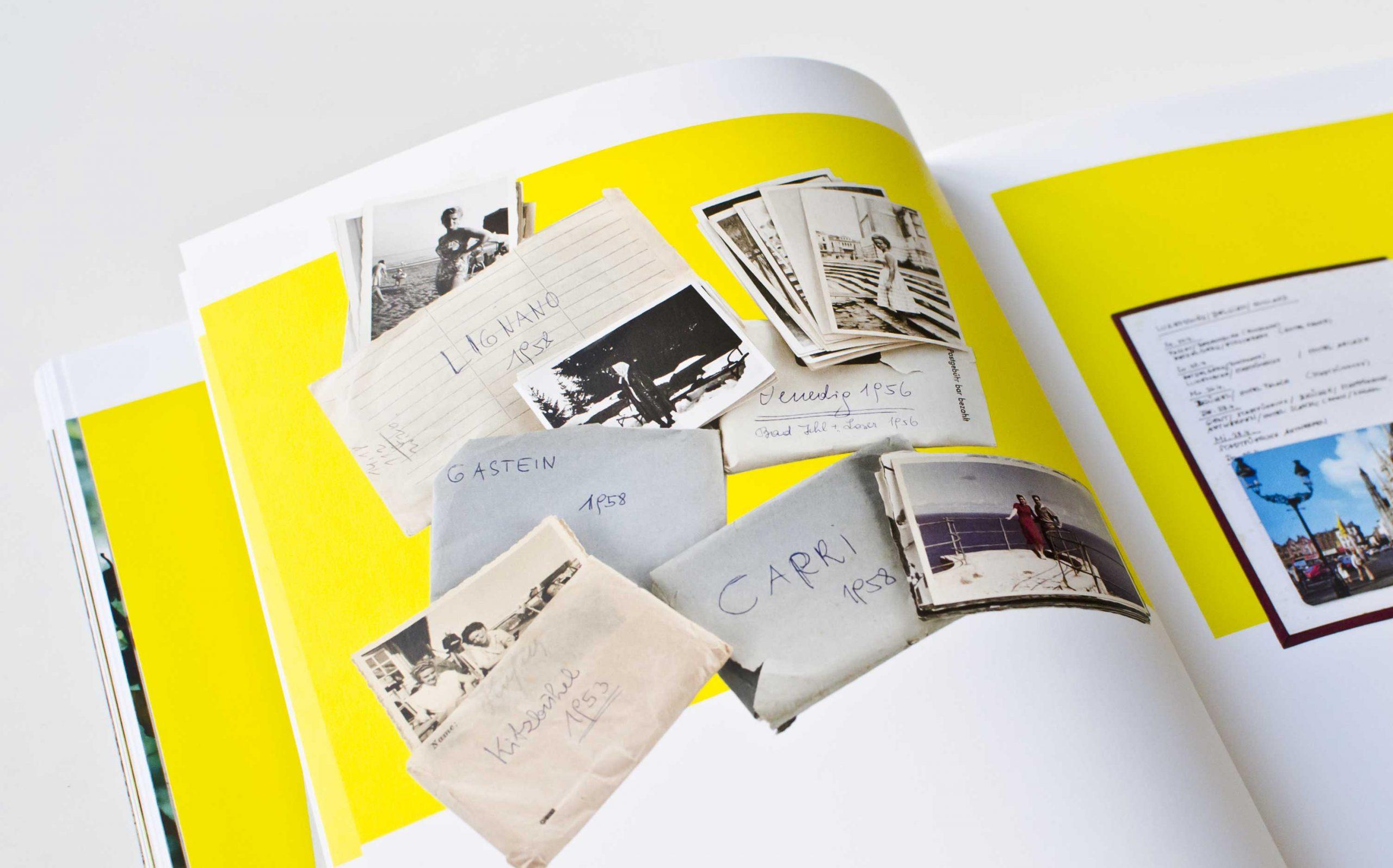 Tarek Leitner, Peter Coeln – Hilde & Gretl | Detailaufnahme einer Doppelseite mit Bildern vor neongelbem Grund | Keywords: Editorial Design, Veredelung, Artist Book, Künstlerbuch, Buchgestaltung, Grafikdesign, Design, Typografie