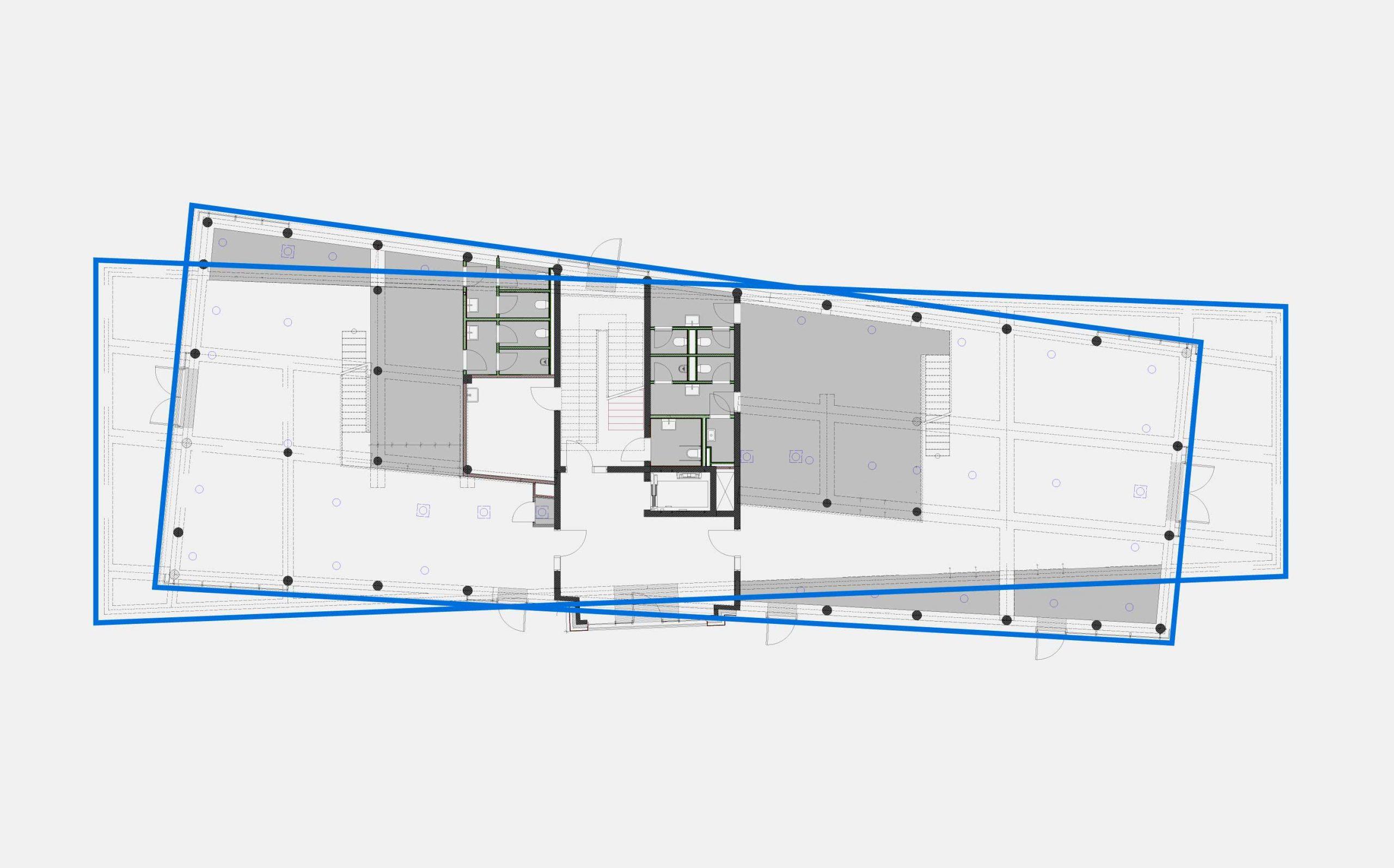 Leit- & Informationssystem The Beach, Düsseldorf | Architektur, Grundriss| Keywords: Etagenkennzeichnung, Signaletik, Leitsystem, Orientierungssystem, Büro, Office, Design, Grafikdesign, Typografie