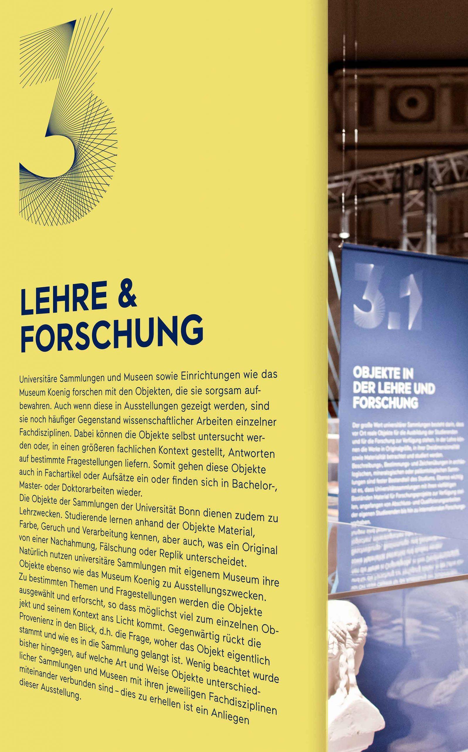 Ausstellungsgestaltung der Sonderausstellung »Objektwelten als Kosmos« im Museum Koenig Bonn | Detail der Banner | Keywords: Ausstellungsgestaltung, Exhibition Design, Spatial Design, Banner, Typografie, Contemporary Design