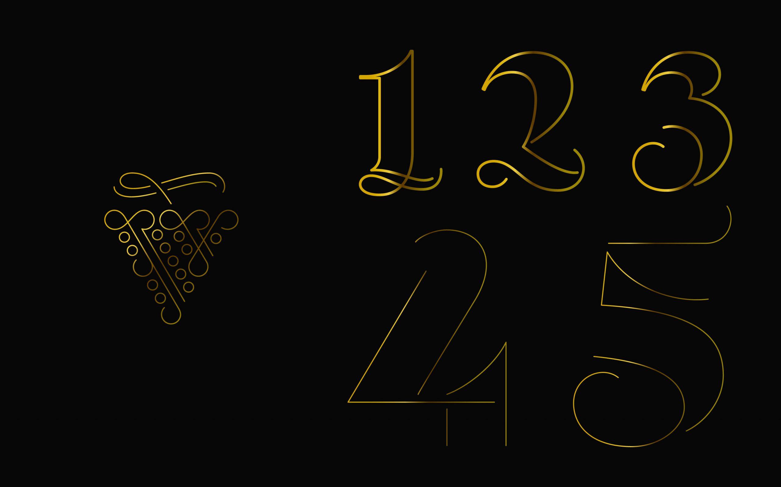 Editorial Design Wein in Österreich, Kompendium | handgezeichnete Ziffern und Titelgrafik | Keywords: Kompendium, Editorial Design, Lexikon, Nachschlagewerk, Standardwerk, Mikrotypografie, Typografie